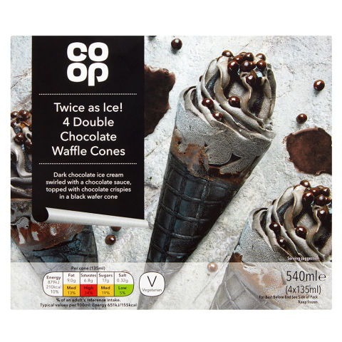 Co-op Twice as Ice 4 Double Chocolate Waffle 4x135ml
