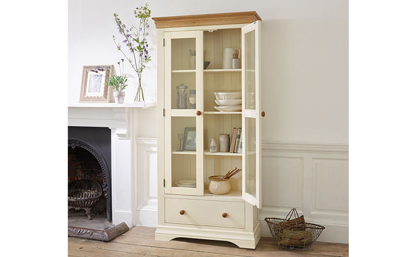 Cream furniture living room cream display cabinet