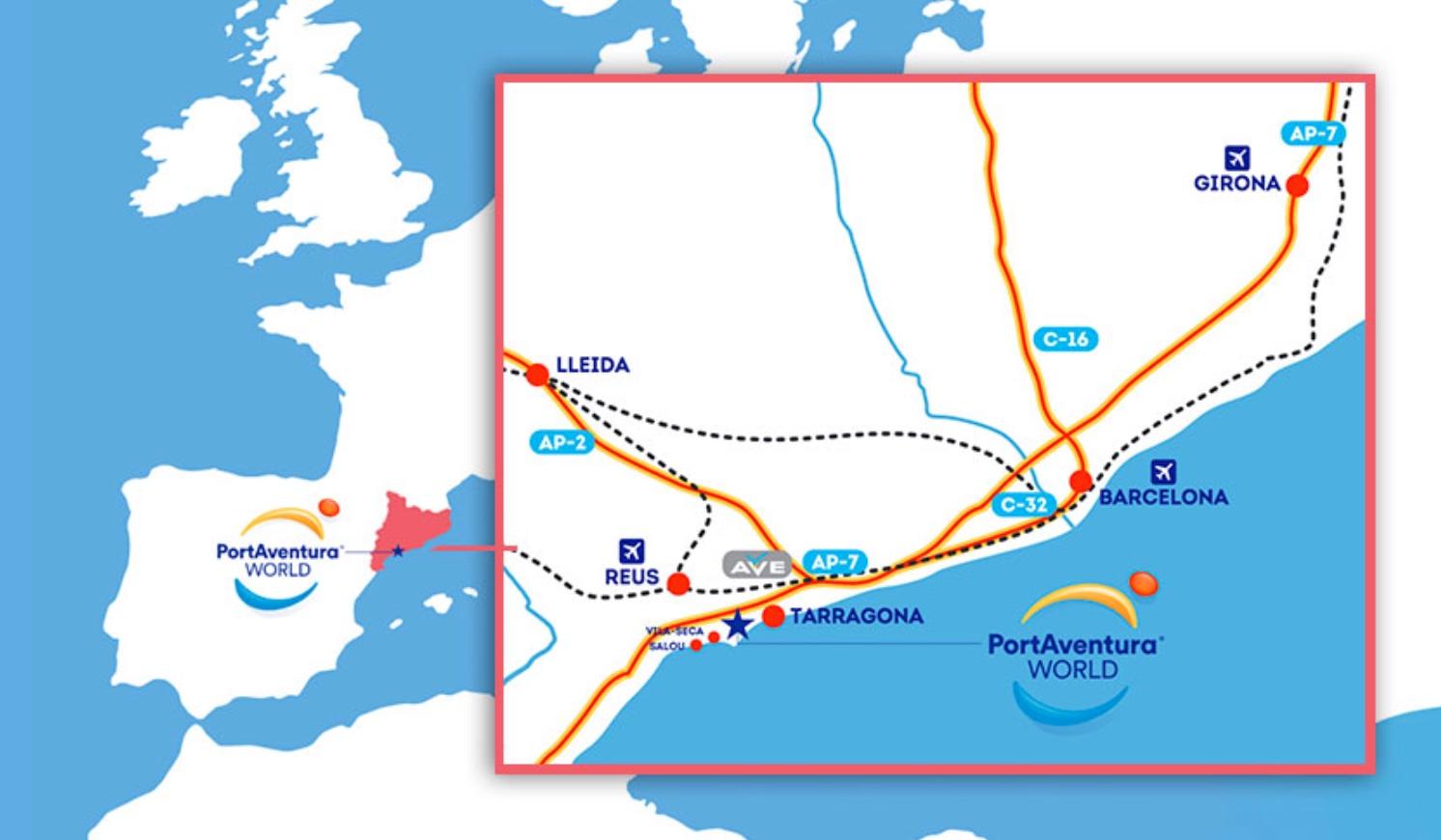 Map of location for PortAventura World