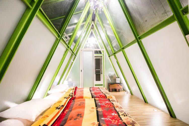 阿里山露營帳棚的透明屋頂