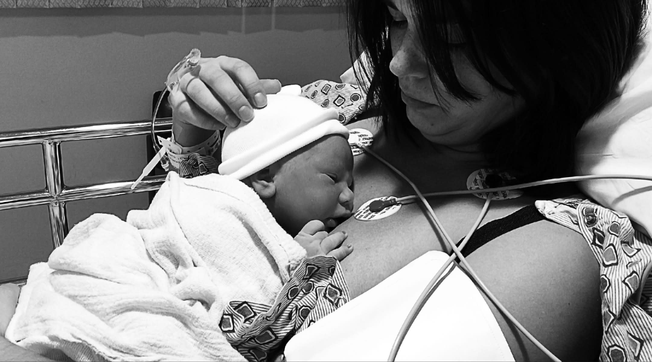mom in hospital with newborn baby