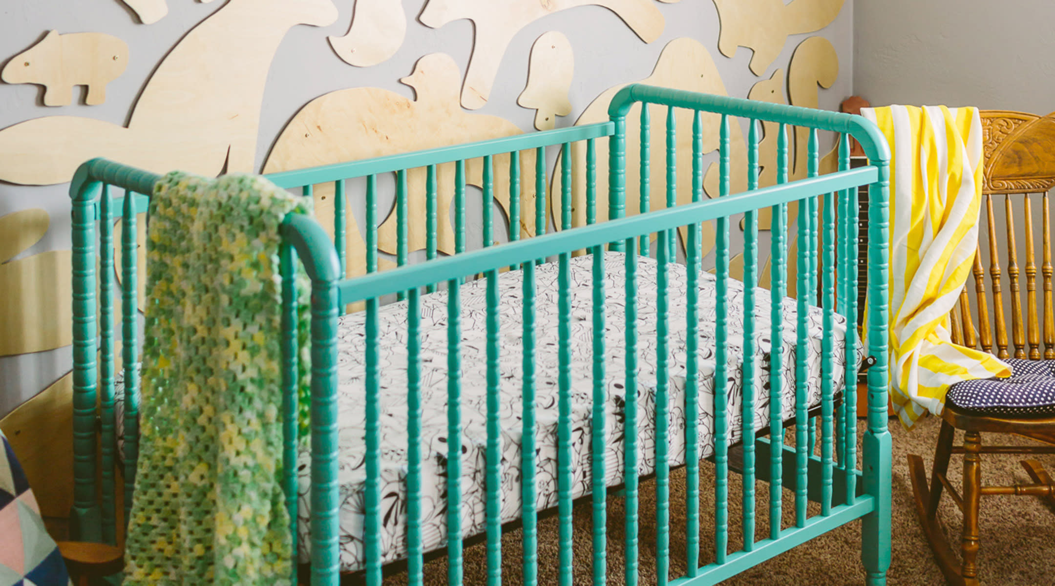 green vintage crib hip nursery