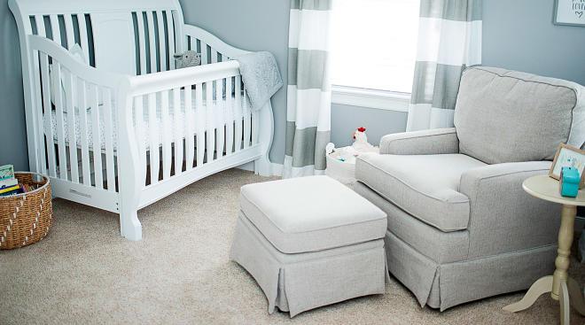 baby nursery room with white crib