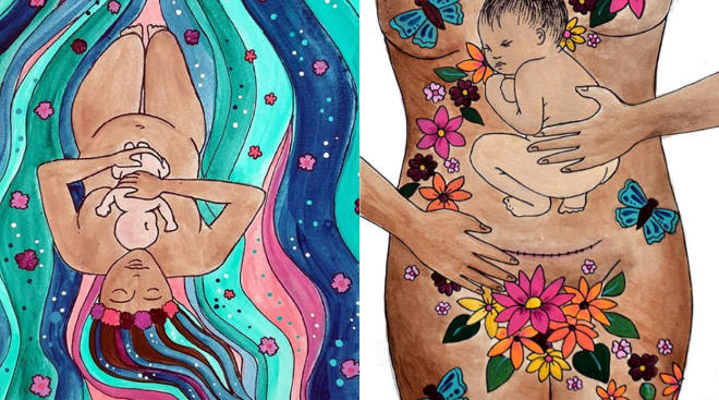 Paintings of women after giving birth