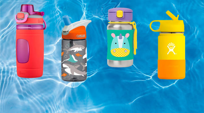 kids water bottle products placed over water background