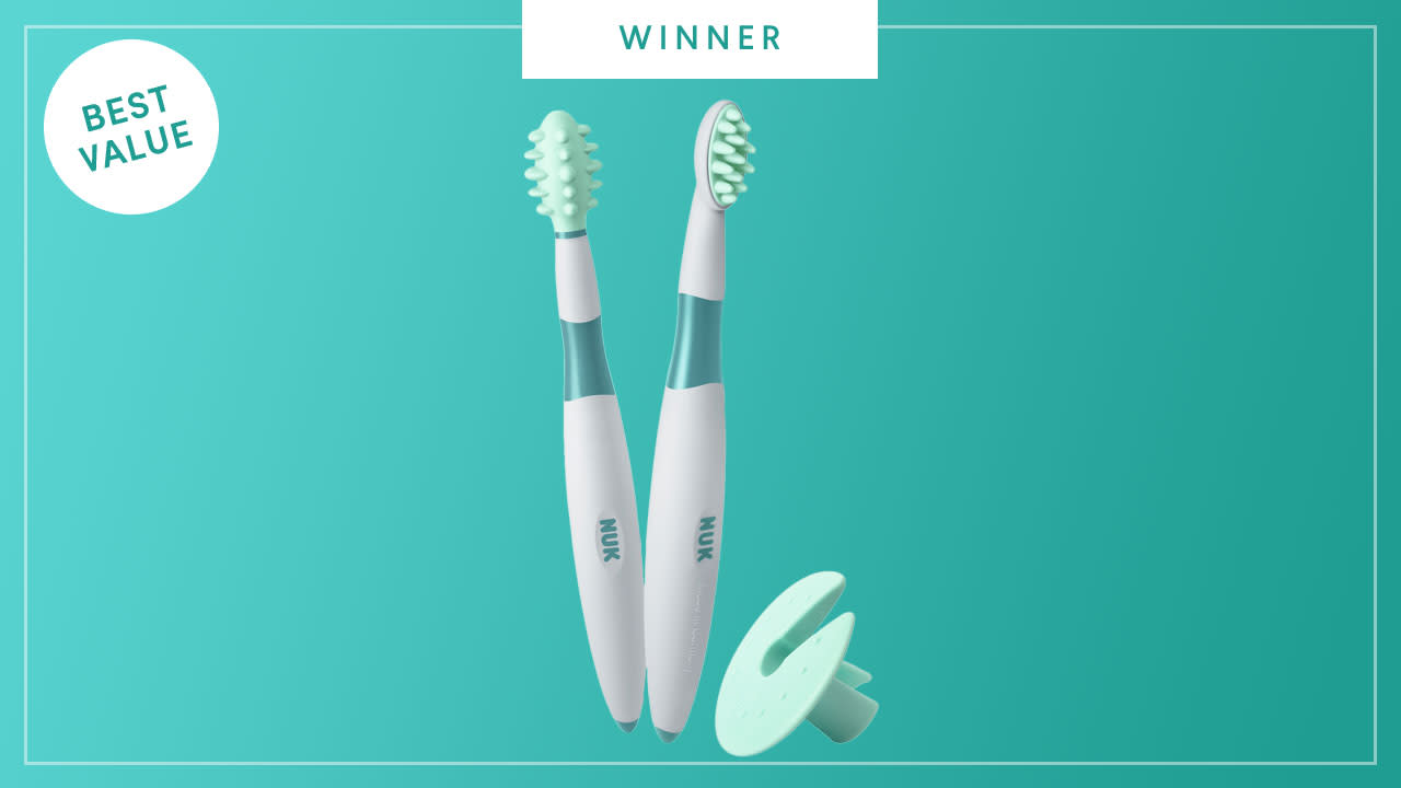 NUK Grins & Giggles Training Toothbrush Set wins the 2017 Best of Baby Award from The Bump