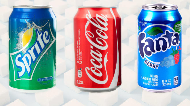 collage of major soda brands, sprite, coke, fanta