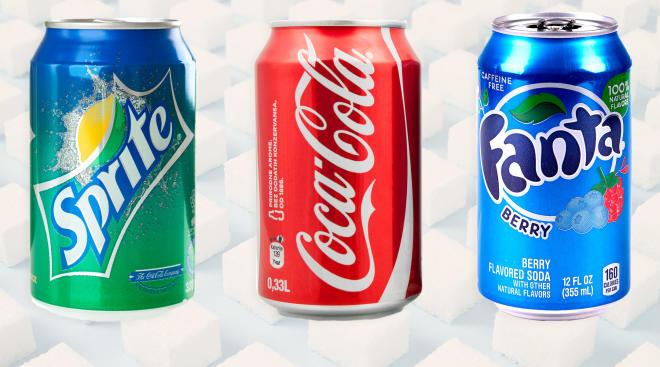 collage of major soda brands, sprite, coke, fanta