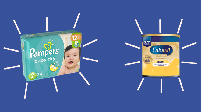 Pampers diapers and enfamil formula collaged onto color background.