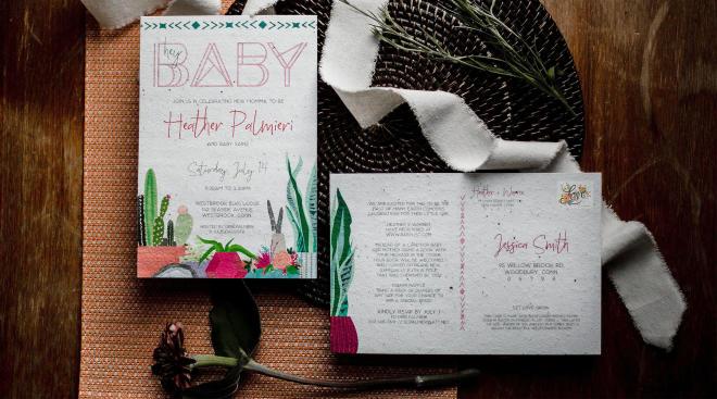 laydown of baby shower invite suite