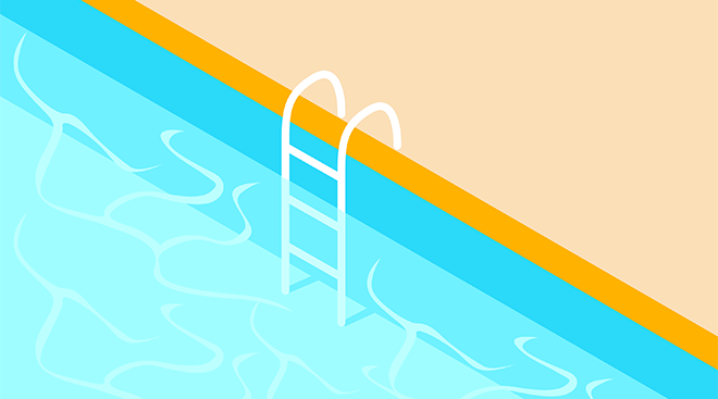 Illustration of ladder in a swimming pool.