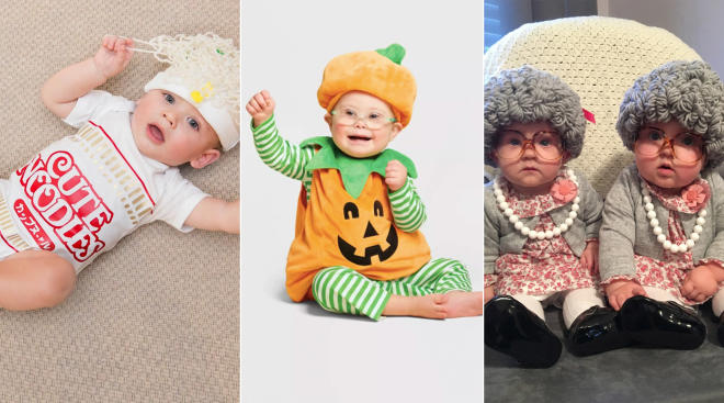 babies dressed up for halloween in various costumes including asian noodles