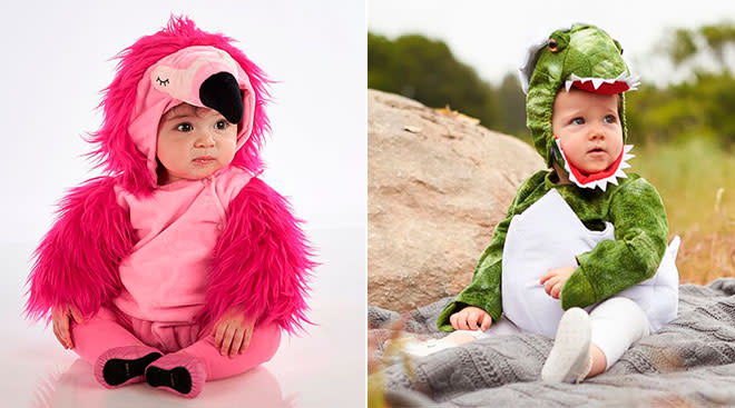 babies dressed up for halloween in various costumes including flamingo and dinosaur egg