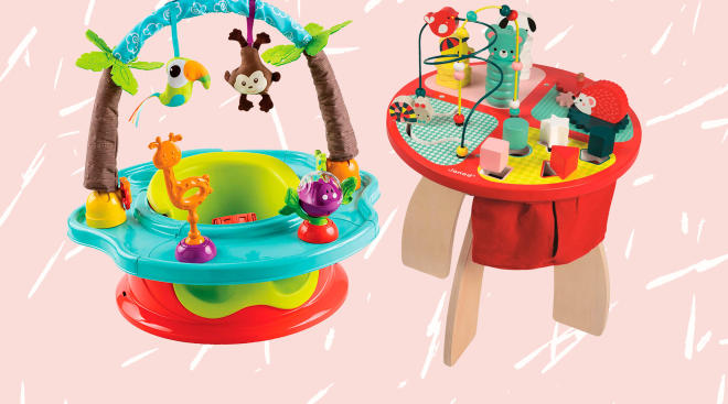 two products, activity centers for baby