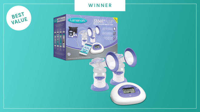 The Lansinoh Smartpump Double Electric Breast Pump wins the 2017 Best of Baby award from The Bump