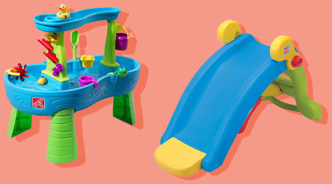Two outdoor toys, a slide and water play station products on color background.