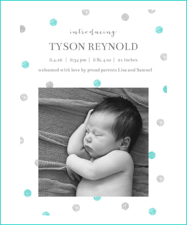 Best Birth Announcement Cards Mixbook Blue Dots