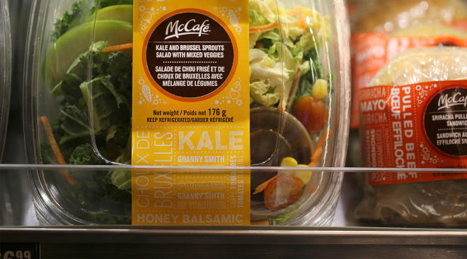mcdonald's pre-packaged kale salad. mcdonald's salads causing food poisoning.