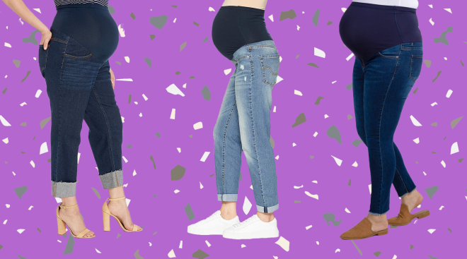 best maternity jeans, product collage