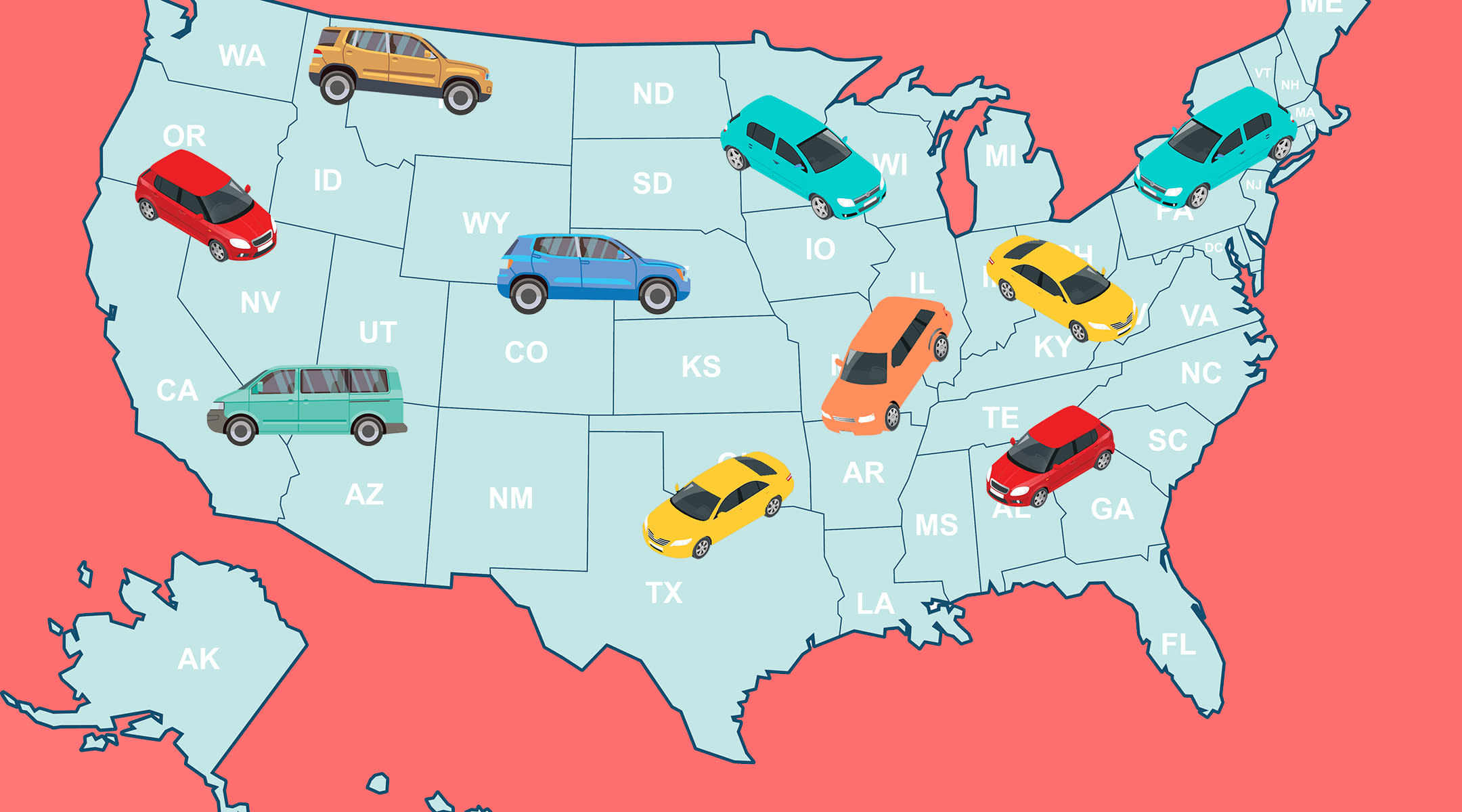 united states map and cars representing booster seat laws by state