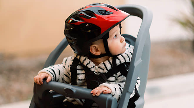 Baby in a bike seat.
