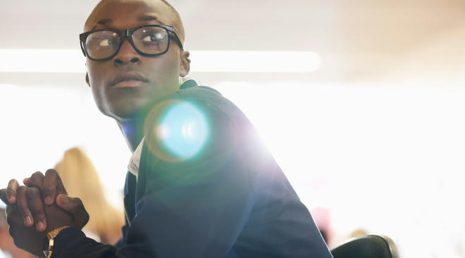 black student attends lecture at college