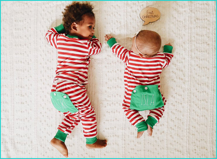Sweet Dreams Girls Baby Christmas Plaid Nightgown Santa Applique Matching Family
