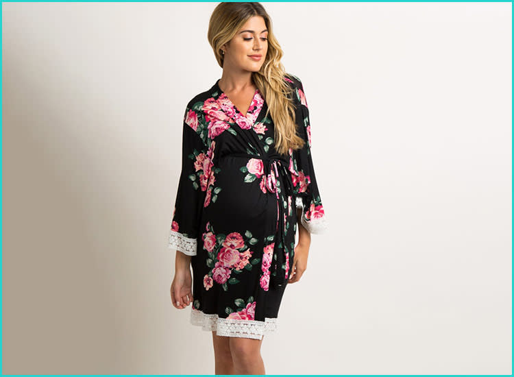 7525c88772932 PinkBlush Maternity Black Rose Floral Lace Trim Delivery/Nursing/Maternity  Robe