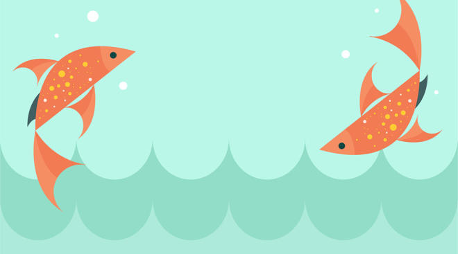 Illustration of fish swimming, the zodiac sign of Pisces
