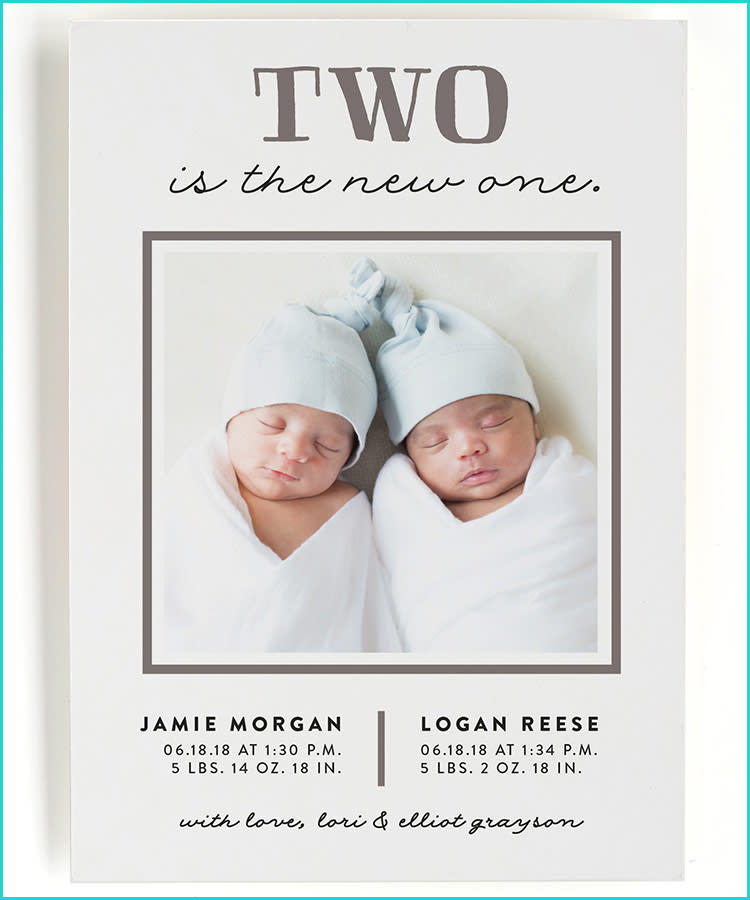 best birth announcement cards minted two babies