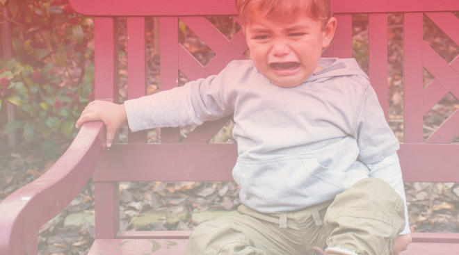 little boy toddler in the middle of a temper tantrum