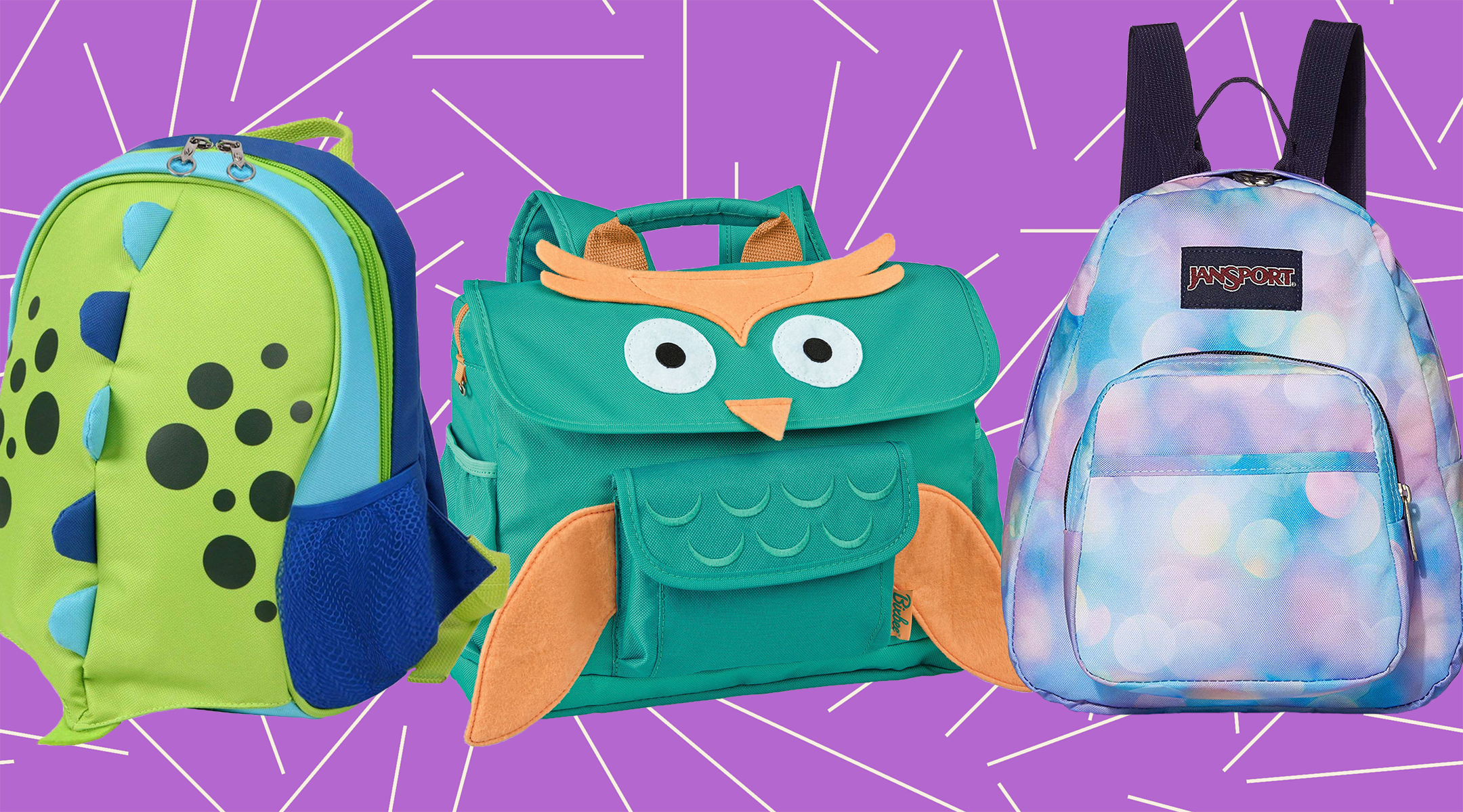 collage of toddler backpacks against geometric background