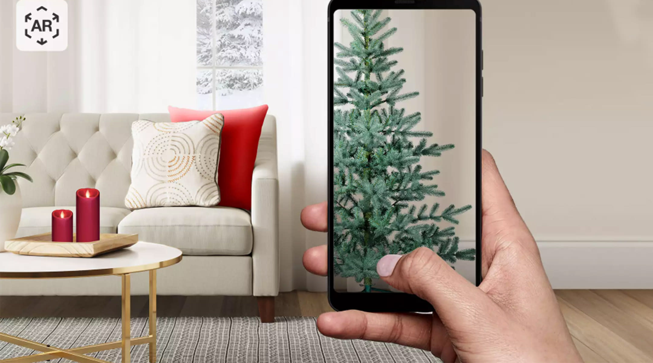 target's app allows you to preview how your christmas tree will look in your home