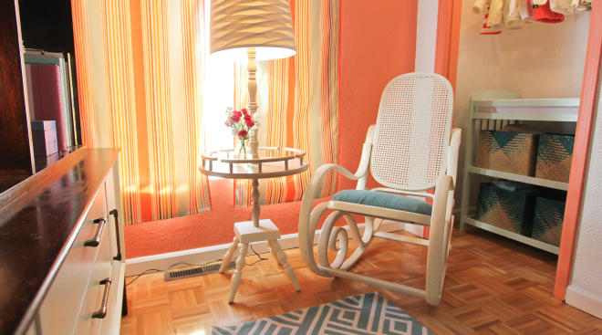re-purposed baby nursery rocking chair