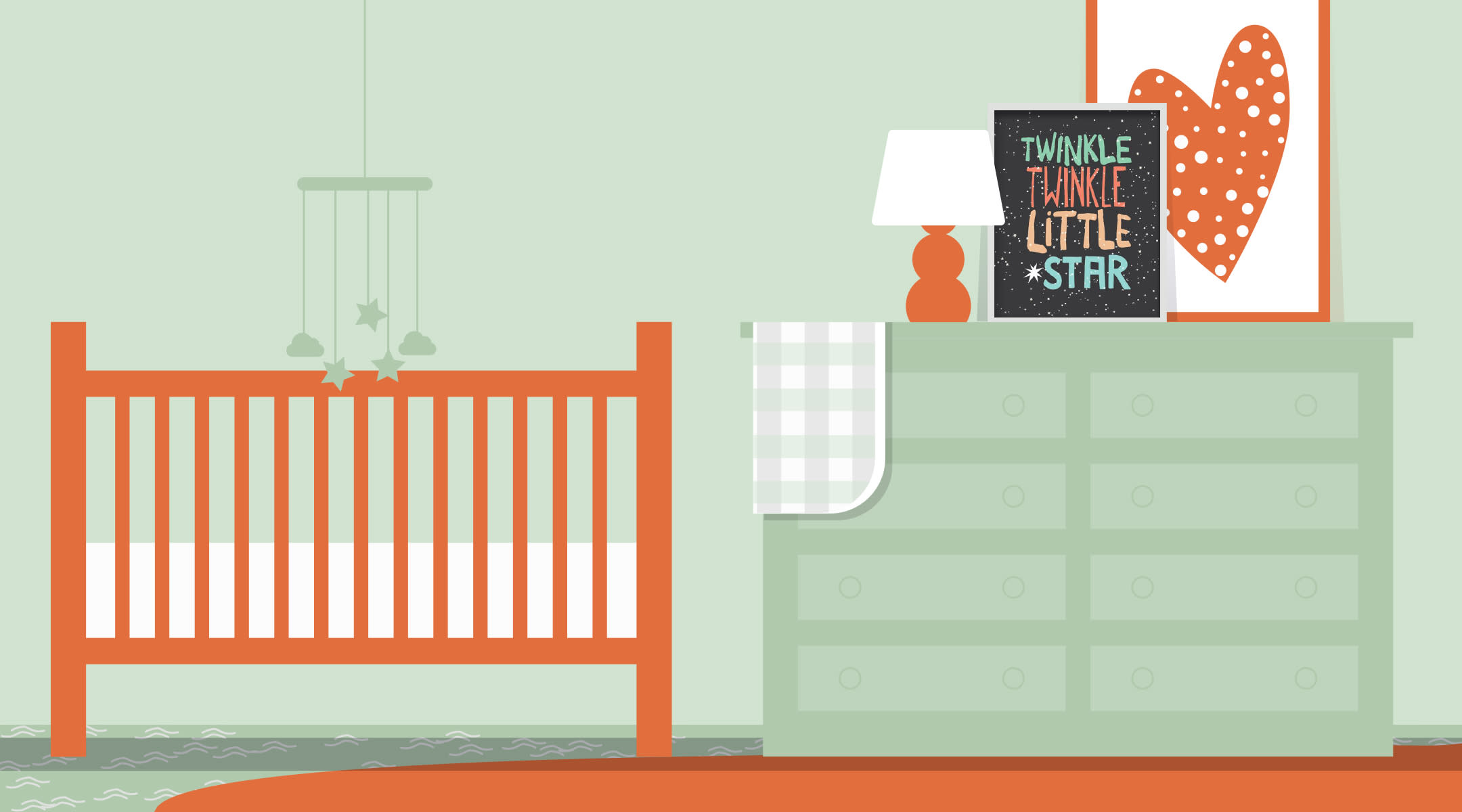 mint and orange baby nursery illustration