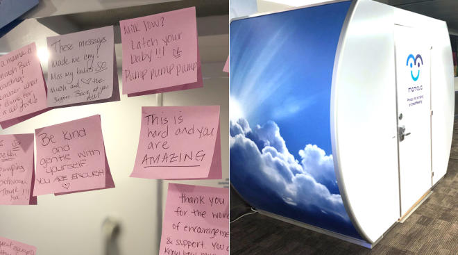 Positive breastfeeding notes at LaGuardia Airport nursing pod