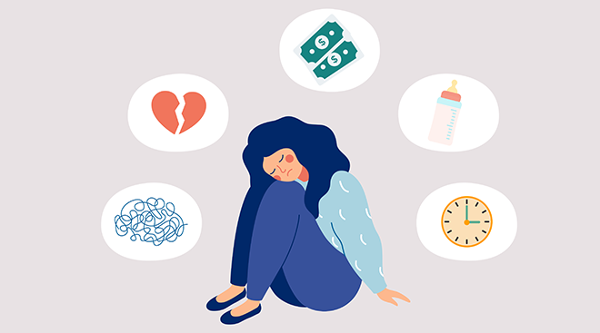 Concept illustration of sad woman surrounded by icons like a baby bottle, money and a clock.