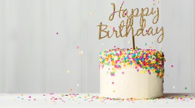birthday cake with confetti sprinkles