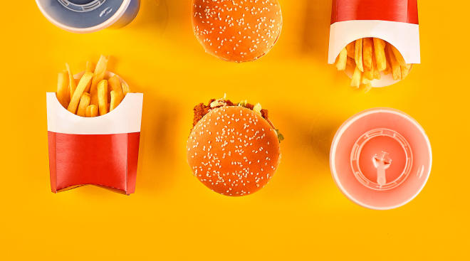 Fast food, sodas, hamburgers and french fries