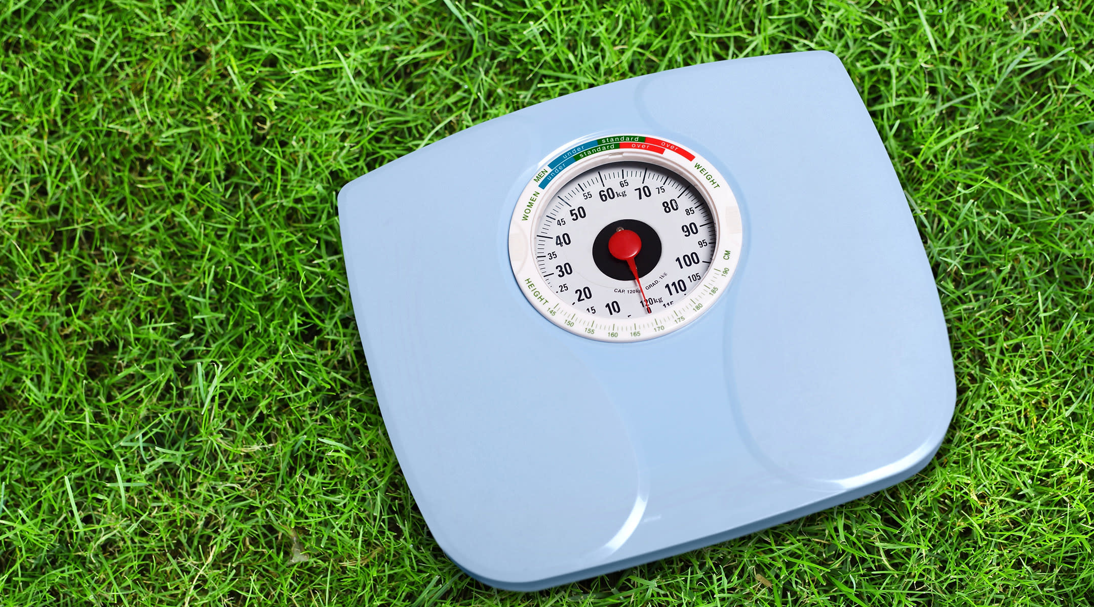 analog weight scale laying in grass