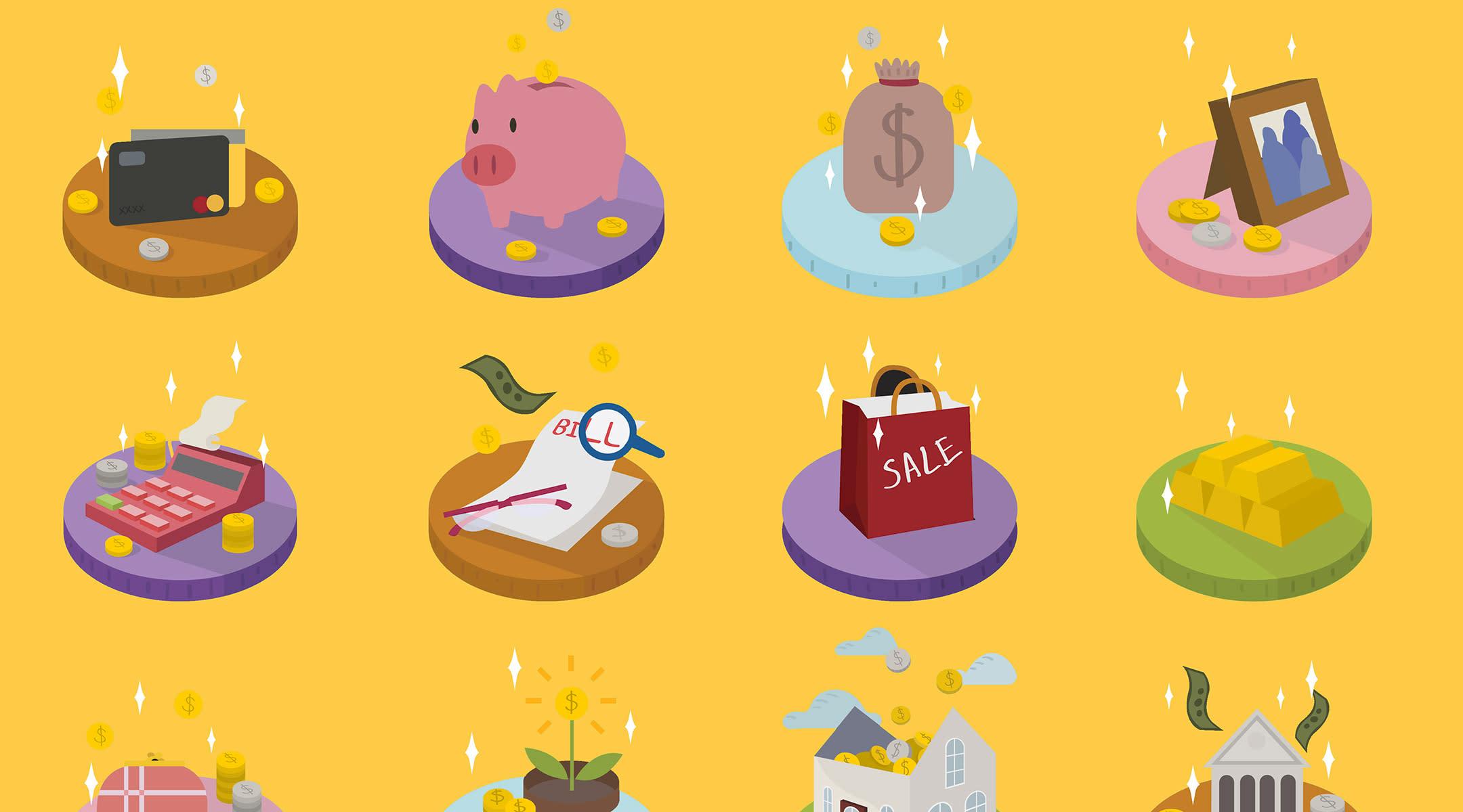 spot illustrations relating to money