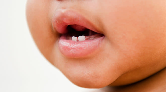 Close-up of baby's mouth with a couple of teeth.