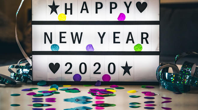 celebration sign that says happy new year 2020