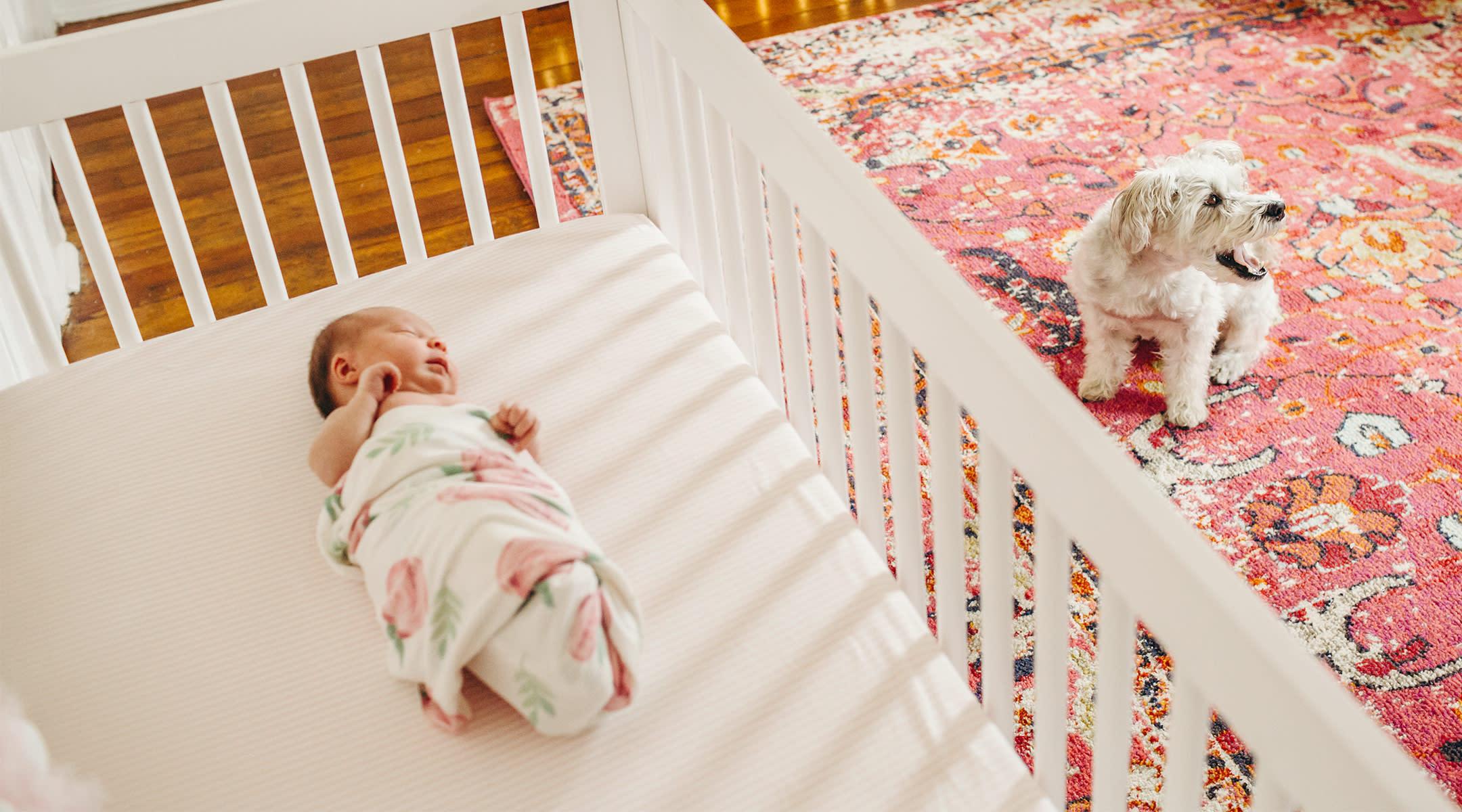 newborn baby sleeping with swaddle in crib