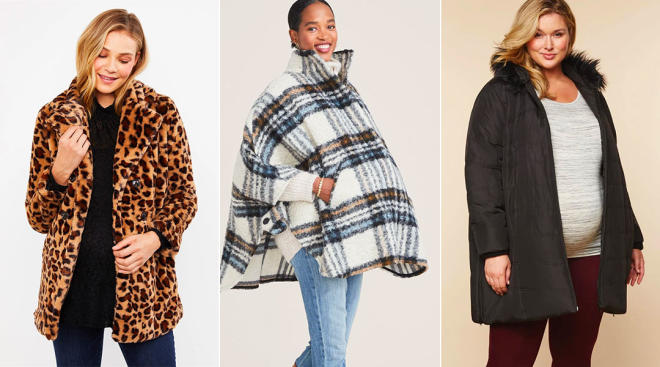 models wearing maternity coats for winter and fall