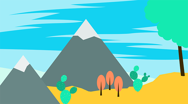 Illustration of a landscape with varying elements such as mountains, cacti and trees.