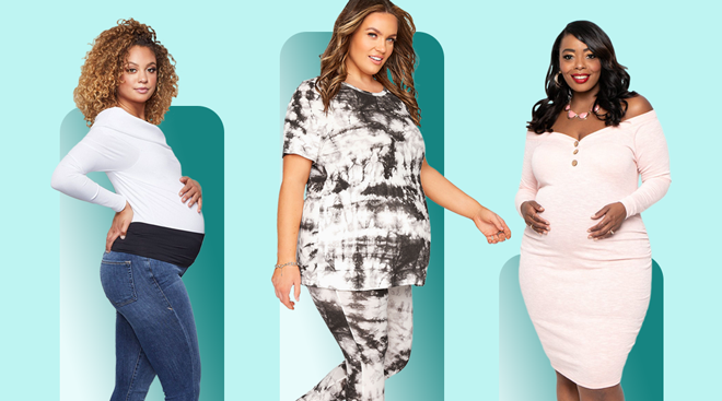 Three models on color background showing plus size maternity clothes.