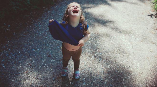 toddler girl having a tantrum