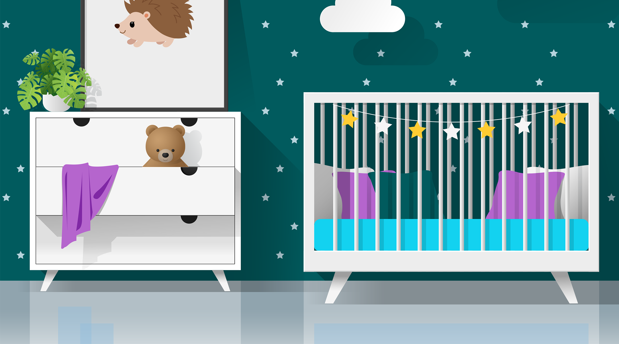 illustrated nursery with night star theme