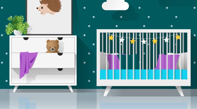 illustrated nursery with night star theme